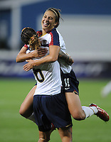 US midfielder Carli Lloyd celebrates after scoring in the minute 63th of the game . The US Women's National Team defeated Canada 6-0 in their final match in the three game domestic series at RFK Stadium on Saturday May 10, 2008.