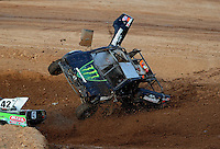 Apr 17, 2010; Surprise, AZ USA; LOORRS super lite driver Colton Greaves flips over on the last lap during round 3 at Speedworld Off Road Park. Mandatory Credit: Mark J. Rebilas-US PRESSWIRE.