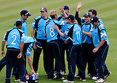 30.8.10 - CB40 Cricket - Warwickshire Bears V Scottish Saltires at Edgbaston - congratulations from the Saltires for left-arm spinner Ross Lyons, who took three wickets in the game - Picture by Donald MacLeod - mobile 07702 319 738 - clanmacleod@btinternet.com - words if required from William Dick 077707 839 23