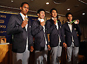 August 29, 2016, Tokyo, Japan - Japanese 4 x 100m relay team members (L-R) Aska Cambridge, Yoshihide Kiryu, Shota Iizuka and Ryota Yamagata show their silver medals prior to their press conference in Tokyo on Monday, August 29, 2016. Japanese relay team won the first silver medal at the Rio de Janeiro Olympic Games.    (Photo by Yoshio Tsunoda/AFLO) LWX -ytd-