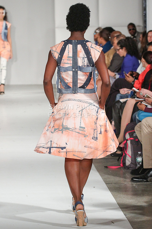 Model walks runway in an outfit from the L-L-B Spring Summer 2015 Construction collection by Lisbeth Lovbak Berg, during Fashion Week Brooklyn Spring Summer 2015.