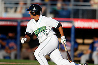 June 23, 2009:  Third Baseman Michael Pasek of the Jamestown Jammers at bat during a game at Russell Diethrick Park in Jamestown, NY.  The Jammers are the NY-Penn League Short-Season Class-A affiliate of the Florida Marlins.  Photo by:  Mike Janes/Four Seam Images