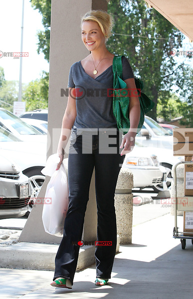 Katherine Heigl was shopping for fabrics with her mom_Nancy once again. Katherine looked casual in a gray tee and blue denim jeans with a Valentino Nuage Bow emerald green python bag. Los Angeles, California on 09.05.2012..Credit: Correa/face to face.. /MediaPunch Inc. ***FOR USA ONLY***