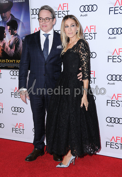 "10 November 2016 - Hollywood, California. Matthew Broderick, Sarah Jessica Parker. AFI FEST 2016 - Opening Night Premiere Of ""Rules Don't Apply"" held at TCL Chinese Theater. Photo Credit: Birdie Thompson/AdMedia"