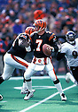 Cincinnati Bengals, Boomer Esiason(7) in actions during a game against the Baltimore Raven on December  21, 1997 at Cinergy Field in Cincinnati , Ohio. The Bengals beat the Ravens 16-14.