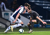 West Bromwich Albion U18's Zak Delaney under pressure from Lincoln City U18's Elliott Sartorius<br /> <br /> Photographer Andrew Vaughan/CameraSport<br /> <br /> FA Youth Cup Round Three - West Bromwich Albion U18 v Lincoln City U18 - Tuesday 11th December 2018 - The Hawthorns - West Bromwich<br />  <br /> World Copyright &copy; 2018 CameraSport. All rights reserved. 43 Linden Ave. Countesthorpe. Leicester. England. LE8 5PG - Tel: +44 (0) 116 277 4147 - admin@camerasport.com - www.camerasport.com