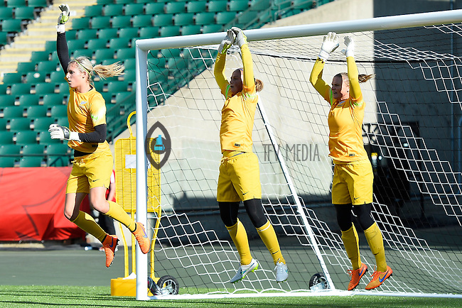 New Zealand's goal keeper, Erin Nayler, Rebecca Rolls and Cushla Lichtwark perform drills before team practice on the even of opening Women's World Cup Soccer match, Friday June 05, 2015 in Edmonton, Alberta. (Mo Khursheed/TFV Media via AP Images)