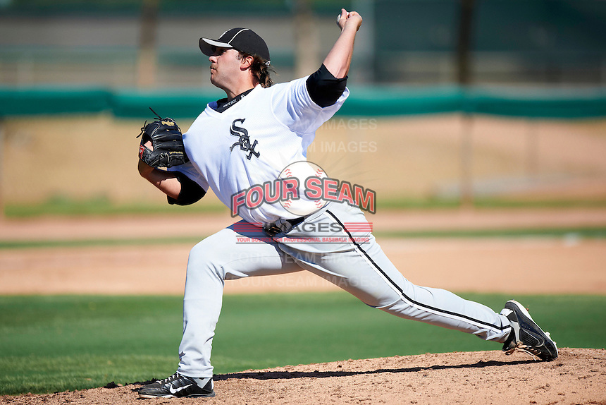 Chicago White Sox minor league pitcher Todd Kibby #55 during an instructional league game against the Los Angeles Dodgers at the Camelback Training Complex on October 9, 2012 in Glendale, Arizona.  (Mike Janes/Four Seam Images)