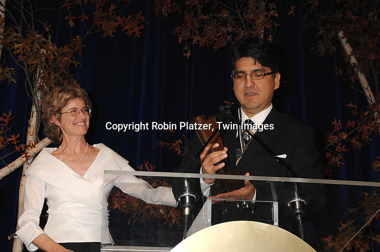 Elizabeth Partridge and Sherman Alexie, winner of Young People's Literature..at The National Book Awards on November 14, 2007 at ..the Marriott Marquis Hotel in New York, The event was hosted by Fran Lebowitz...Robin Platzer, Twin Images......