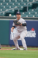Scranton/Wilkes-Barre RailRiders first baseman Mike Ford (36) waits for a pickoff attempt throw during an International League game against the Buffalo Bisons on June 5, 2019 at Sahlen Field in Buffalo, New York.  Scranton defeated Buffalo 3-0, the first game of a doubleheader.  (Mike Janes/Four Seam Images)