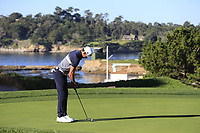 Rafa Cabrera-Bello (ESP) birdie putt on the 4th green at Pebble Beach course during Friday's Round 2 of the 2018 AT&amp;T Pebble Beach Pro-Am, held over 3 courses Pebble Beach, Spyglass Hill and Monterey, California, USA. 9th February 2018.<br /> Picture: Eoin Clarke | Golffile<br /> <br /> <br /> All photos usage must carry mandatory copyright credit (&copy; Golffile | Eoin Clarke)