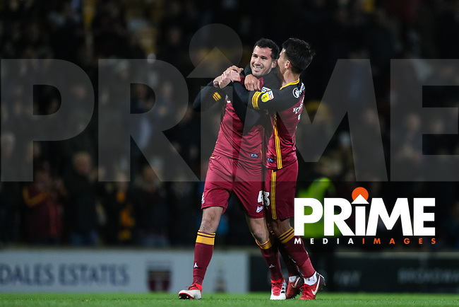 Ryan McGowan and Adam Chicksen of Bradford City celebrate a 2-0 winn after the Sky Bet League 1 match between Bradford City and Oxford United at the Northern Commercial Stadium, Bradford, England on 24 November 2018. Photo by Thomas Gadd.