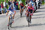 Thibaut Pinot (FRA) FDJ, Nairo Quintana (COL) Movistar Team Maglia Rosa and Vincenzo Nibali (ITA) Bahrain-Merida during Stage 20 of the 100th edition of the Giro d'Italia 2017, running 190km from Pordenone to Asiago, Italy. 27th May 2017.<br /> Picture: LaPresse/Fabio Ferrari | Cyclefile<br /> <br /> <br /> All photos usage must carry mandatory copyright credit (&copy; Cyclefile | LaPresse/Fabio Ferrari)