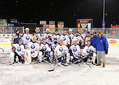 The Frozen Frontier Buffalo Sabres Alumni team photo - kneeling:  Matthew Barnaby, Martin Biron, Craig Muni, Richie Dunn, Derek Smith, Brad May, Ric Seiling;  Standing:  Unknown, Craig Rivet, Andrew Peters, Richard Smehlik, Rob Ray, Grant Ledyard, Jay McKee, Danny Gare, Yuri Khmylev, Rene Robert, Darryl Shannon, Scott McManigle, and Harry Neale after the game at Frontier Field on December 15, 2013 in Rochester, New York.  (Copyright Mike Janes Photography)<br /> <br /> <br /> <br /> Sabres Alumni included Martin Biron, Richie Dunn, Grant Ledyard, Craig Muni, Darryl Shannon, Yuri Khmylev, Ric Seiling, Danny Gare, Derek Smith, Brad May, Rob Ray, Matthew Barnaby, Richard Smehlik, Craig Rivet, Jay McKee, Andrew Peters, Rene Robert, Harry Neale