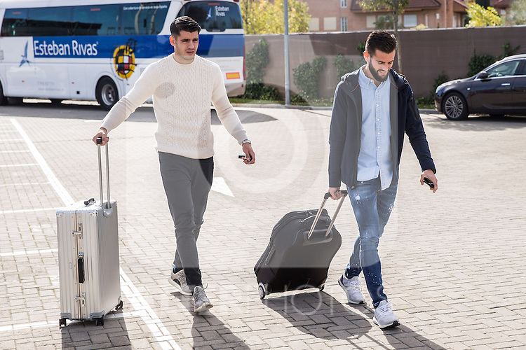Spainsh Alvaro Morata and Nacho Fernandez arriving at the concentration of the spanish national football team in the city of football of Las Rozas in Madrid, Spain. November 08, 2016. (ALTERPHOTOS/Rodrigo Jimenez)