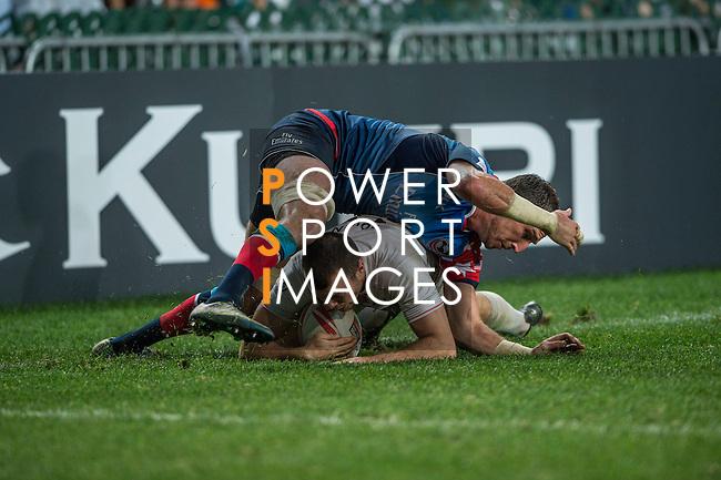 USA vs England during the Plate Final at the HSBC Hong Kong Rugby Sevens 2016 on 10 April 2016 at Hong Kong Stadium in Hong Kong, China. Photo by Li Man Yuen / Power Sport Images