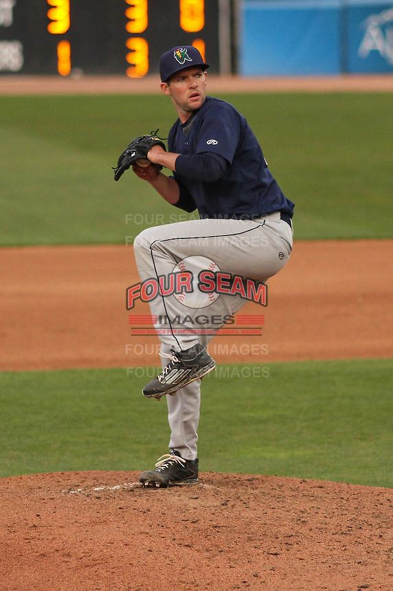 Cedar Rapids Kernels pitcher Jared Wilson (20) delivers a pitch during a game against the Wisconsin Timber Rattlers on May 4th, 2015 at Fox Cities Stadium in Appleton, Wisconsin.  Cedar Rapids defeated Wisconsin 9-3.  (Brad Krause/Four Seam Images)