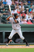 Center fielder Johneshwy Fargas (17) of the Augusta GreenJackets bats in a game against the Greenville Drive on Sunday, April 12, 2015, at Fluor Field at the West End in Greenville, South Carolina. Augusta won, 2-1. (Tom Priddy/Four Seam Images)