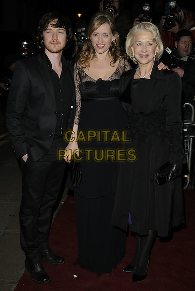 JAMES McAVOY, ANNE MARIE DUFF & DAME HELEN MIRREN.The UK Premiere of 'The Last Station' at The Curzon Mayfair Cinema, London, England..January 26th 2010.full length black jacket dress lace clutch bag married husband wife beard facial hair maxi suit hand in pocket coat velvet gloves maxi.CAP/CAN.©Can Nguyen/Capital Pictures.