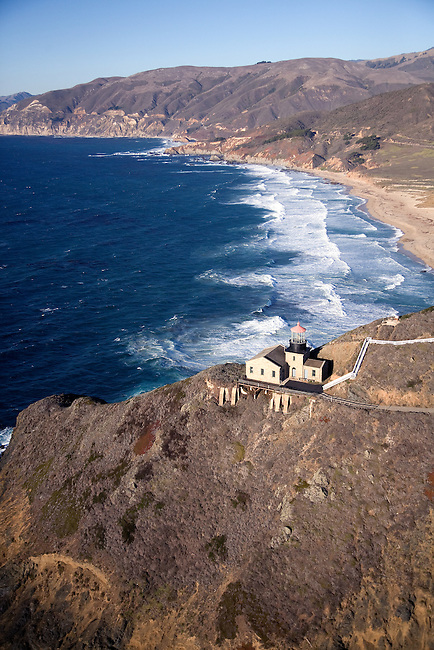 USA. California. Big Sur. Aerial of Pt. Sur Lighthouse...
