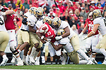 Wisconsin Badgers running back Jonathan Taylor (23) is tackled during an NCAA College Football Big Ten Conference game against the Purdue Boilermakers Saturday, October 14, 2017, in Madison, Wis. The Badgers won 17-9. (Photo by David Stluka)