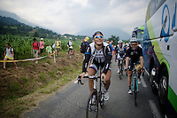 Marcel Kittel (DEU/Giant-Shimano) &amp; Tony Martin (DEU/OmegaPharma-Quickstep) arrive back at the busses after they managed the last mountains of this Tour de France.<br /> <br /> 2014 Tour de France<br /> stage 18: Pau - Hautacam (145km)