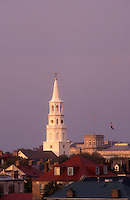 AJ1586, South Carolina, Charleston, The steeple of St. Michael's Episcopal Church and rooftops of the buildings in downtown Charleston, South Carolina.