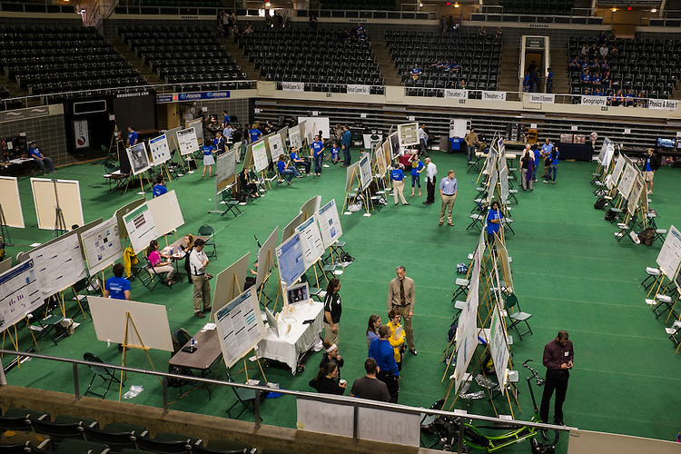Student presenters await the start of the 2015 Ohio University Research and Creative Activity Expo in the Convocation Center on Thursday, April 10, 2015. Photo by Ohio University / Rob Hardin