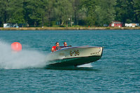"8-10 August 2008  Algonac, MI USA.The classic Gold Cup class boat ""Impshi"" goes for a run on the river Friday afternoon..©F.Peirce Williams 2008"