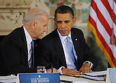United States President Barack Obama talks with U.S. President Joseph Biden after delivering opening remarks at a bipartisan meeting to discuss health reform legislation at the Blair House in Washington, DC USA 25 February 2010. President Obama is hosting a televised health care summit with Republican and Democratic lawmakers in efforts to craft healthcare overhaul legislation. .Credit: Shawn Thew / Pool via CNP