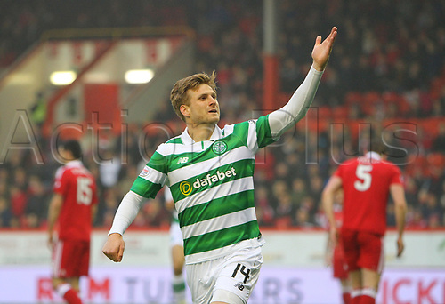 May 12th 2017, Pittodrie, Aberdeen, Scotland; SPL Premier league football Aberdeen versus Celtic;  Celtic's Stuart Armstrong celebrates his goal for 0-2
