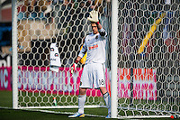 Philadelphia Union goalkeeper Zac MacMath (18). Toronto FC and the Philadelphia Union played to a 1-1 tie during a Major League Soccer (MLS) match at PPL Park in Chester, PA, on April13, 2013.