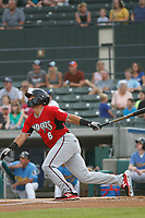 Carolina Mudcats infielder Dallas Carroll (8) at bat during a game against the Myrtle Beach Pelicans at Ticketreturn.com Field at Pelicans Ballpark on June 15 , 2018 in Myrtle Beach, South Carolina. Carolina defeated Myrtle Beach 4-2. (Robert Gurganus/Four Seam Images)