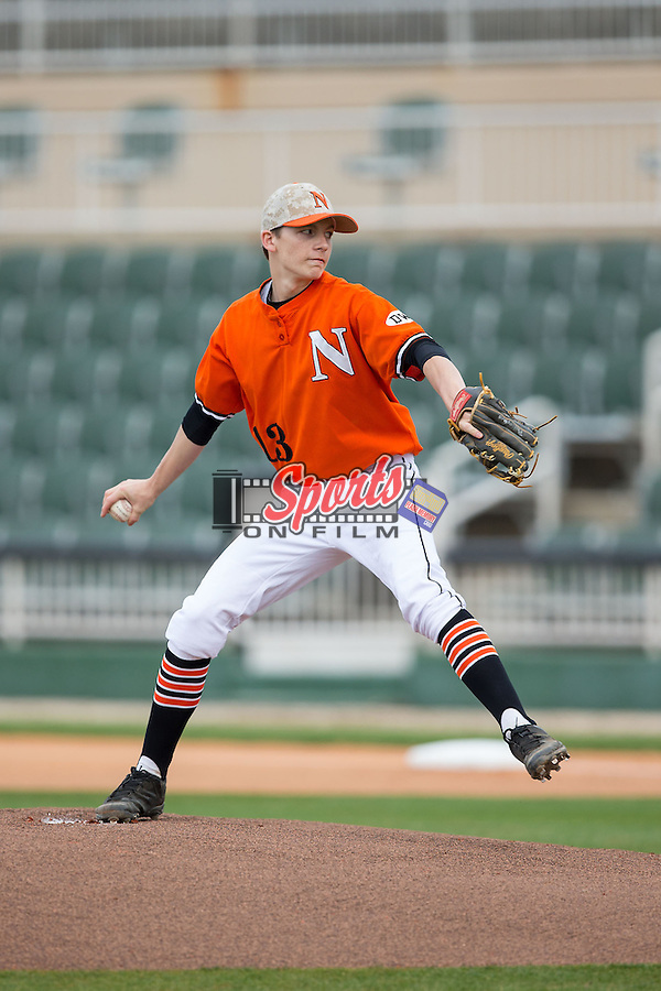 Northwest Cabarrus Trojans starting pitcher Alex Rodriguez (13) in action against the Hopewell Titans at CMC-NorthEast Stadium on March 12, 2015 in Kannapolis, North Carolina.  The Trojans defeated the Titans 10-9 in 8 innings.  (Photo by Brian Westerholt/Sports On Film)