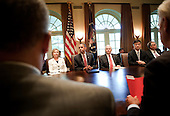 From left Secretary of State Hillary Rodham Clinton, President Barack Obama, Secretary of Defense Robert M. Gates, Secretary of Veterans Affairs Eric K. Shinseki and Secretary of Transportation Raymond L. LaHood sit after a meeting in the Cabinet Room of the White House June 22, 2010 in Washington DC.  President Obama spoke about the war on terrorism, the Gulf of Mexico Oil spill and Gen. Stanley A. McChrystal's comments about the administration in a Rolling Stone..Credit: Brendan Smialowski - Pool via CNP