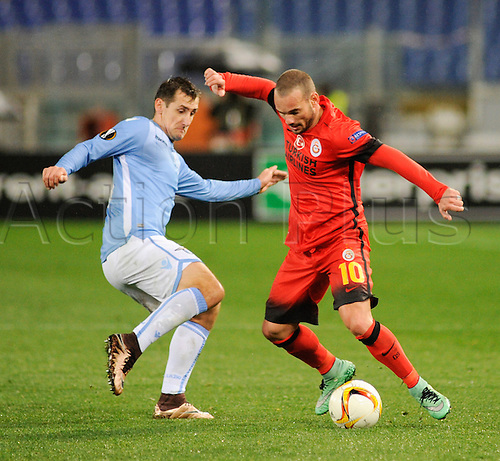 25.02.2016. Stadio Olimpico, Rome, Italy. Uefa Europa League, Return leg of SS Lazio versus Galatasaray. Wesley Sneijder and Miroslav Klose