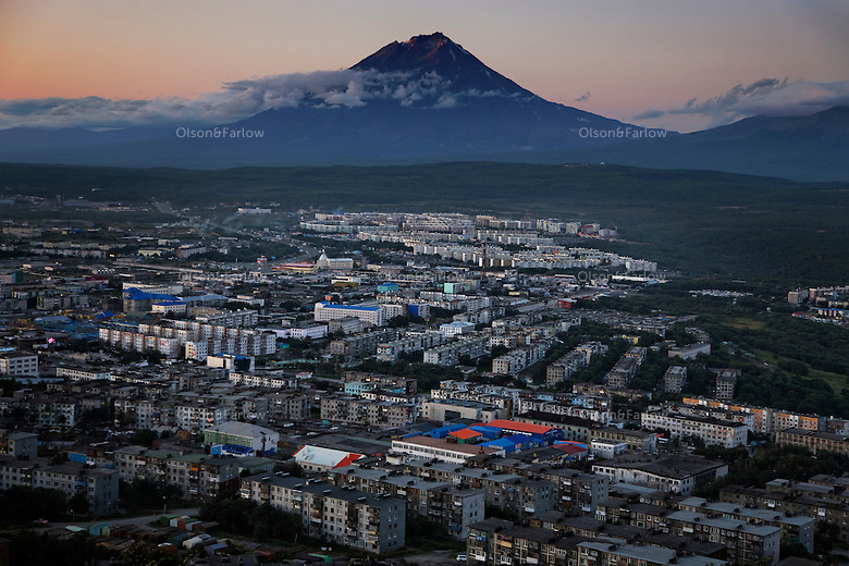 Aerials of Petropavlovsk industry and mountains.