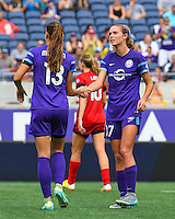 Orlando, FL - Sunday June 26, 2016: Alex Morgan, Dani Weatherholt  during a regular season National Women's Soccer League (NWSL) match between the Orlando Pride and the Portland Thorns FC at Camping World Stadium.
