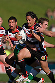 Tasesa Lavea makes a strong run towards the tryline. Air New Zealand Cup rugby game between the Counties Manukau Steelers & Manawatu Turbos, played at Growers Stadium Pukekohe on Staurday September 20th 2008..Counties Manukau won 27 - 14 after trailing 14 - 7 at halftime.