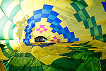 The inside of a hot air balloon is seen while the Up & Away team fills the hot air balloon in Middletown, California on Saturday July 14th 2012. (Photo By Brian Garfinkel)