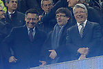 FC Barcelona's President Josep Maria Bartomeu (l) and  Atletico de Madrid's President Enrique Cerezo (r) with the President of the Generalitat of Catalonia Carles Puigdemont during Champions League 2015/2016 match. April 5,2016. (ALTERPHOTOS/Acero)