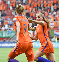 20170806 - ENSCHEDE , NETHERLANDS : Dutch JLieke Martens (R) and Vivianne Miedema (L)  celebrating the equalizer pictured during the female soccer game between The Netherlands and Denmark  , the final at the Women's Euro 2017 , European Championship in The Netherlands 2017 , Sunday 6th of August 2017 at Grolsch Veste Stadion FC Twente in Enschede , The Netherlands PHOTO SPORTPIX.BE | DIRK VUYLSTEKE