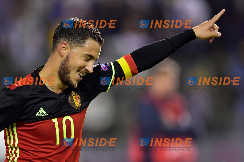 BRUSSELS, BELGIUM - OCTOBER 7 : Eden Hazard midfielder of Belgium celebrates scoring a goal during the World Cup Qualifier Group H match between Belgium and Bosnia and Herzegovina at the King Baudouin Stadium on October 07, 2016 in Brussels, Belgium, 7/10/2016  <br /> Bruxelles 07-10-2016 Calcio Qualificazioni Mondiali <br /> Belgio Bosnia <br /> Foto Photonews/Panoramic/Insidefoto <br /> ITALY ONLY