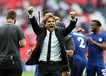 Chelsea's Antonio Conte celebrates at the final whistle during the premier league match at the Wembley Stadium, London. Picture date 20th August 2017. Picture credit should read: David Klein/Sportimage