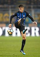Calcio, Serie A: Inter - Napoli, Milano, stadio Giuseppe Meazza (San Siro), 11 marzo 2018.<br /> Inter's Joao Cancelo in action during the Italian Serie A football match between Inter Milan and Napoli at Giuseppe Meazza (San Siro) stadium, March 11, 2018.<br /> UPDATE IMAGES PRESS/Isabella Bonotto