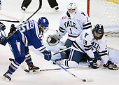 Sean Bertsch (Air Force - 15), Ryan Rondeau (Yale - 1), Denny Kearney (Yale - 19) - The Yale University Bulldogs defeated the Air Force Academy Falcons 2-1 (OT) in their East Regional Semi-Final matchup on Friday, March 25, 2011, at Webster Bank Arena at Harbor Yard in Bridgeport, Connecticut.