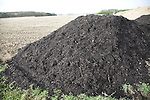 Pile of organic compost manure fertiliser by arable field, Sutton, Suffolk, England