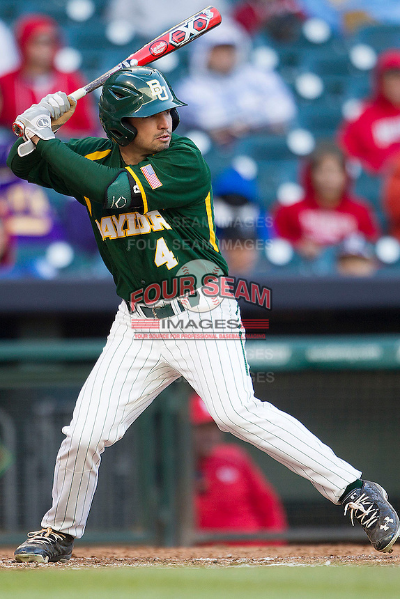 Baylor Bears outfielder Nathan Orf #4 at bat against the Houston Cougars in the NCAA baseball game on March 2, 2013 at Minute Maid Park in Houston, Texas. Houston defeated Baylor 15-4. (Andrew Woolley/Four Seam Images).