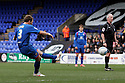 Scott Laird of Stevenage fires in a free-kick. - Tranmere Rovers v Stevenage - npower League 1 - Prenton Park, Tranmere - 6th April, 2012 . © Kevin Coleman 2012