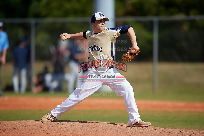 Mount St. Mary's Mountaineers relief pitcher Noah Smith (24) during a game against the Ball State Cardinals on March 9, 2019 at North Charlotte Regional Park in Port Charlotte, Florida.  Ball State defeated Mount St. Mary's 12-9.  (Mike Janes/Four Seam Images)